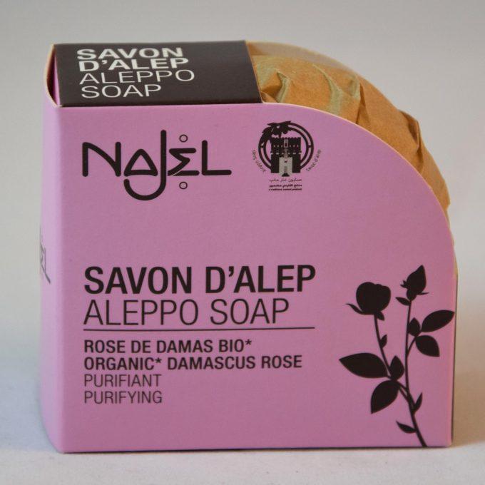 Il sapone di Aleppo all' olio essenziale di rosa di damasco lascia la vostra pelle morbida e raggiante.