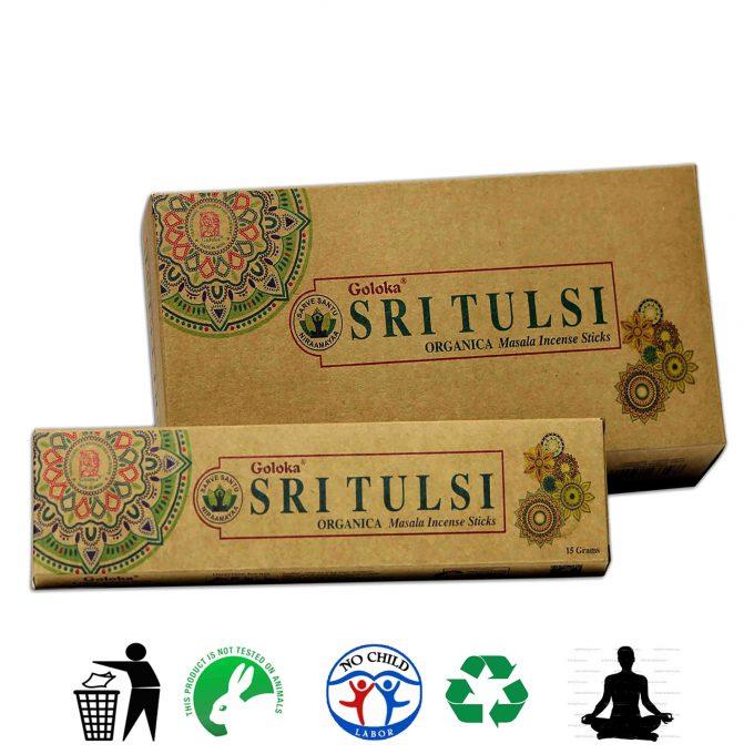 Goloka Sri Tulsi al basilico sacro emana sentori intensi di frutta, fiori e resine. L' incenso Sri tulsi si può utilizzare soprattutto per la meditazione. E'composto dalle migliori erbe, oli naturali. Gli incensi vengono rollati a mano, non sono stati utilizzati prodotti animali o sottoprodotti di origine animale. E' ecologico e tutti gli imballaggi sono riciclabili. Gli ingredienti non sono tossici e non contengono parti sintetiche.