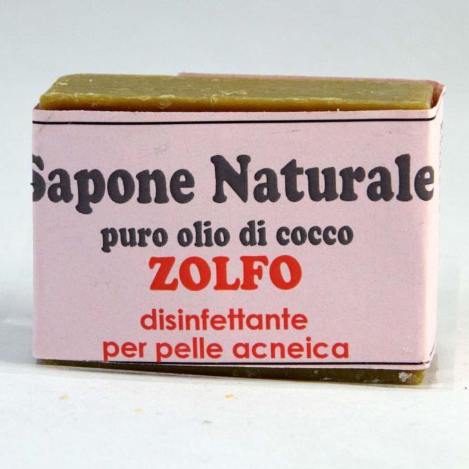 Sapone con zolfo. Adatto per l'acne giovanile e pelle molto grassa. Disinfettante per pelle acneica e con brufoli.